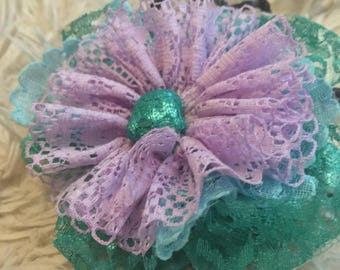 Mermaid Lace Flower Headband w/Tie