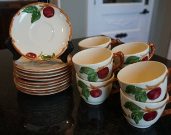 Vintage Franciscan Apple Cups and Saucers/10 Saucers/8 Cups/ Gladding, McBean & Co. / Glendale CA/ Tea Party/ Wedding Shower