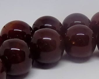 Brown 16mm Round Natural Agate Gemstone Beads (24 pieces)