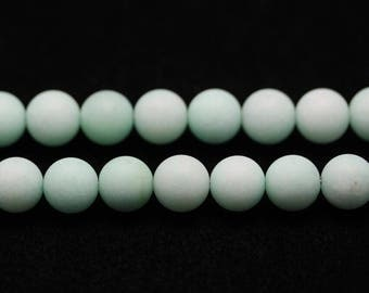 Frosted Light Green Malaysia Jade Round Ball Shaped Gemstone Loose Beaded Bracelet Necklace,4-10mm