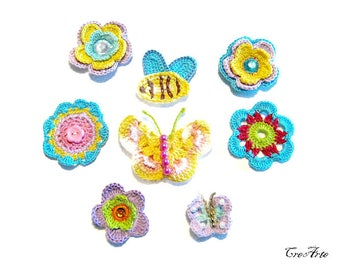 Set 8 colorful crochet appliques, set 8 applicazioni colorate all'uncinetto