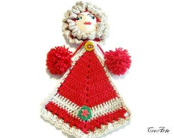 Red crochet doll potholder, presina bambola rossa all'uncinetto
