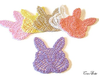 "Crochet ""rabbit"" coasters, Set of 6 coasters, Colorful coasters, Small doilies, Sottobicchieri colorati a forma di coniglio"