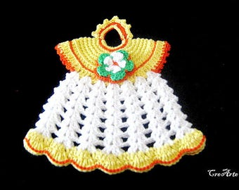 Yellow and White crochet dress potholder, presina vestitino gialla e bianca all'uncinetto