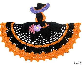Halloween Crochet Crinoline Witch, Orange and Black Crinoline Witch, Strega per Halloween