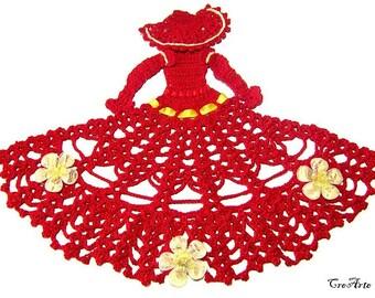 Red and Yellow crochet crinoline lady doily, centrino rosso e giallo a forma di dama ad uncinetto