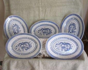 "Chinese Dragon Rice Grain Oval Plates  Hand Painted Blue White Set of 5 ///  9 3/4 ""  X   6 3/4 ""    Vtg China Blue Markings"