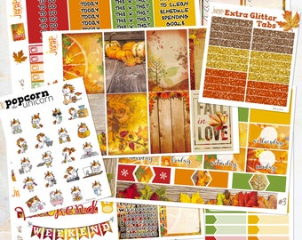 Fall in Love Autumn set / kit weekly stickers - classic Happy Planner - leaves woods September October November