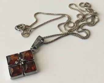 "Vintage Amber sterling silver necklace, amber necklace, silver and amber pendant, 18"" silver necklace"