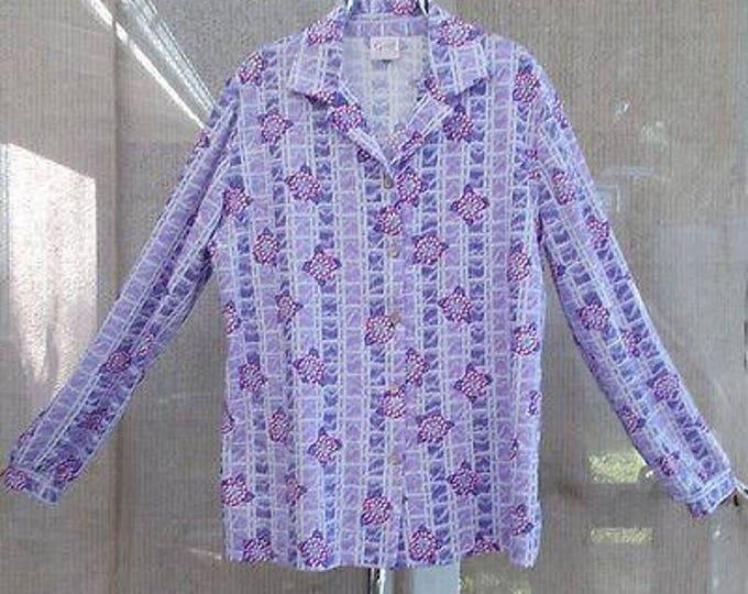 Vintage 70s MOD Preppy Graff Californiawear Floral  Striped Purple Polyester Womens Long Sleeve Blouse Shirt 14