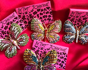 Crystal Multi-Color Rhinestones  Beautiful Butterfly Brooch with Gold Gift Box Choose Your favorite!