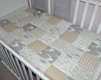Cot Quilt, Neutral Baby Woodland Quilt, Cream Beige Cot Quilt, Handmade Patchwork Quilt, Stag & Misty Leaf Panda, Hello Bear Cot Quilt