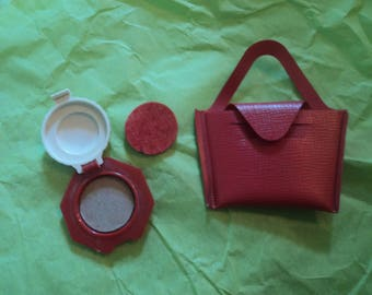 Vintage Cissy Ginny Miss Revlon Accesories Compact Make-up with Puff Red Purse