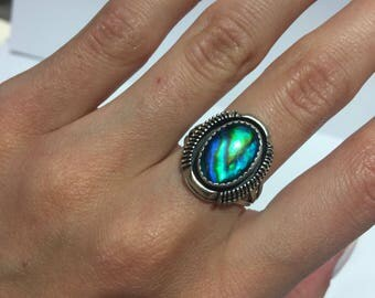 Sterling Silver Vintage Blue Mystic Stone Ring