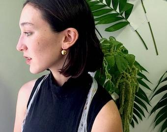 Gold circle drop earrings