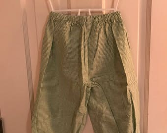 2T Green and White Gingham Checked Pants