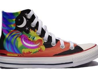 Cheshire Custom Converse / Alice in Wonderland custom shoes