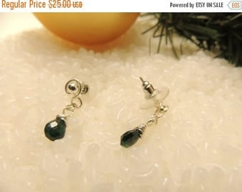 25% Off Entire Store - Dainty Sterling Silver and Genuine Emerald Post Drop Earrings