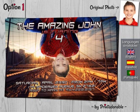 Spiderman Invitation - Amazing Spider-man Birthday Invite - Marvel Invitations with photo