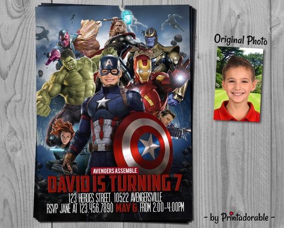 Captain America Invitation - Avengers Invite - Captain America Birthday Party - Printadorable