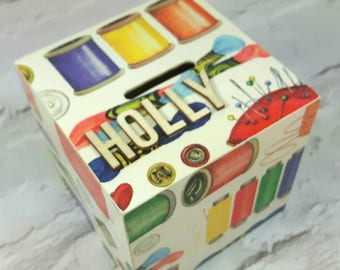 Sewing Piggy Bank, Personalised, Sewing Box, Money Box, Wife Gift, Gift for Her, Gifts for Sewers, Christmas, Stocking Fillers