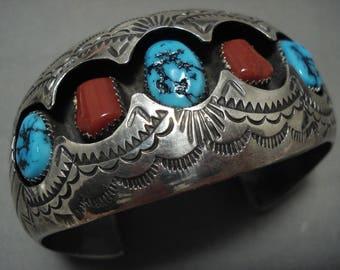 Unique! 3d Cuff Designed Vintage Navajo Turquoise Coral Silver Bracelet