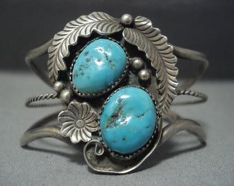 Incredible Vintage Navajo Turquoise Sterling Silver Bracelet Old Pawn