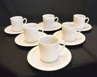 Arzberg ATHENA WHITE Demitasse Cups and Saucers, Set of Six Demitasse Cups and Saucers, Bavarian Porcelain Cups and Saucers