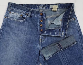 Vintage 90s Gap SELVEDGE Redline Button Fly Distressed USA Jeans, Mens 37x35 (Tag 36x34)