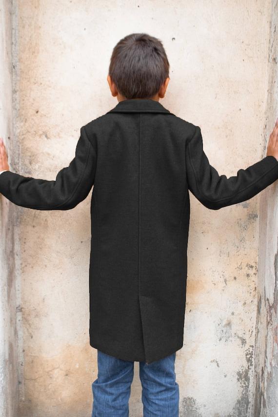 Winter coat for boys/ Classic wool coat/ Grey pea coat/ Kids