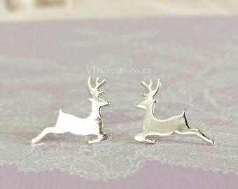 Deer Earrings - Reindeer Earrings - Deer Jewelry - Rudolph - Christmas Jewelry - Christmas Gift - Animal Earrings -  Winter Jewelry - BFF