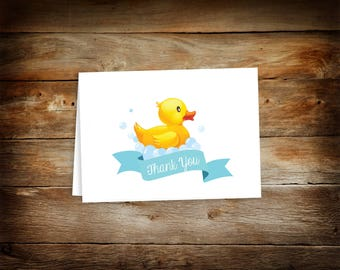Baby Shower Thank You Card - Thank You Card - Rubber Ducky Thank You Cards - Ducky Baby Shower - Blank Thank You Card - 0002-B