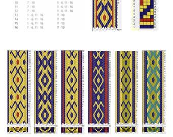 Tablet weaving patterns, Viking trim pattern, Viking belt pattern, Medieval crafts, DIY tablet weaving, Weaving pattern, DIY medieval belt