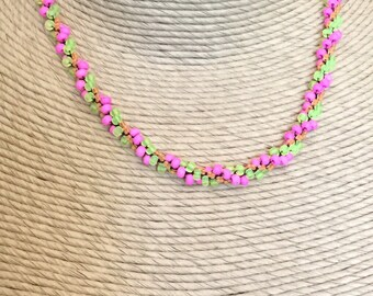 fluorescent pink orange yellow black crocheted beaded short necklace