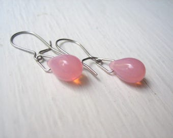 Little pink drop earrings, pink teardrops, small pink earrings, pink glass drops, Czech glass drop