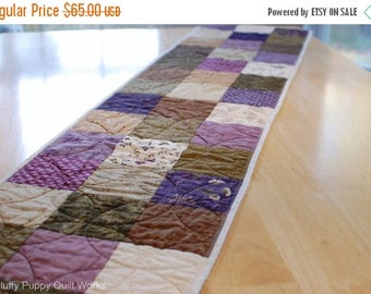 ON SALE Plum Quilted Table Runner, Purple Brown Gold Green Beige Table Decor, Purple Garden Table Runner, Floral Plum Table Topper