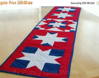 ON SALE Patriotic Table Runner, Quilted Fourth of July Decor, Independence Day Table Mat, Red White Blue Table Runner, Star Table Topper