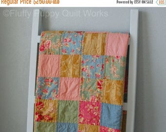 ON SALE Patchwork Quilt, Traditional Style Throw Quilt, Classic Elegant Lap Quilt, Country Sofa Throw, Floral Pink Blue Green Gold Quilt