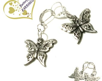 Antique Silver Earrings, Silver Butterfly Earrings, Girlfriend Gift, Appreciation Gift, On Trend Style Thank You Gift,Free Local Shipping