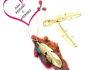 Pendant and Earring Felted Jewellery Set, On trend Gift, Unique Gift Set, Designer pendant Set, Original One-of-a-kind Cherished Gift Set