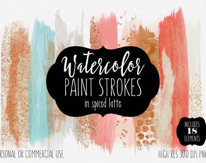 AUTUMN BRUSH STROKES Clip Art Commercial Use Clipart Watercolor Paint Stroke Blog Header Copper Coral Rust & Rose Gold Confetti Logo Graphic