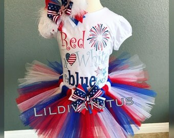 Handmade Red, White and FaBluelous tutu set / 4th of july tutu / memorial weekend tutu
