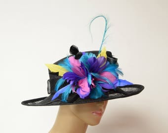 Black Sinamay lady hat with pheasant feathers, Kentucky Derby Hat, English Royal Hat, Wedding, Church Hat, Formal Hat, Dressy Hat