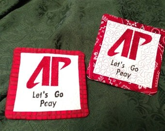 Austin Peay Mug Rugs, set of 2, quilted coasters