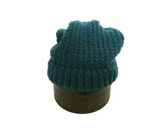 Blue Knitted Slouch Knit Hat - Ready to Ship Adult/Teen Knitted Beanie