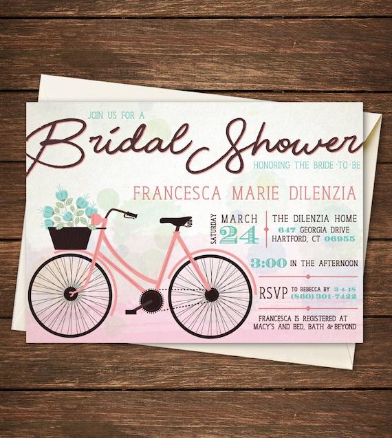 Bicycle bridal shower invitation bicycle bridal shower like this item filmwisefo Choice Image