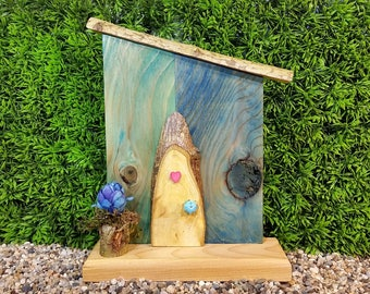 Natural Cross Cut Fairy Door with Two Toned Blue Panels featuring Two Knot Hole Windows