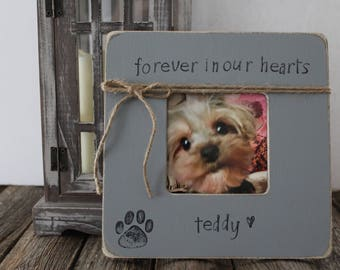 Forever in Our Hearts Picture Frame, Personalized Dog Gift, Pet Loss Frame, Pet Sympathy Gift, Cat Dog, Memorial Frame