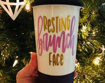 Resting Brunch Face   Glitter Coffee Tumbler   Brunch