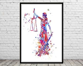 Lady justice, watercolor lady justice, lady justice print, lady justice art, watercolor art, watercolor print  (4348b)